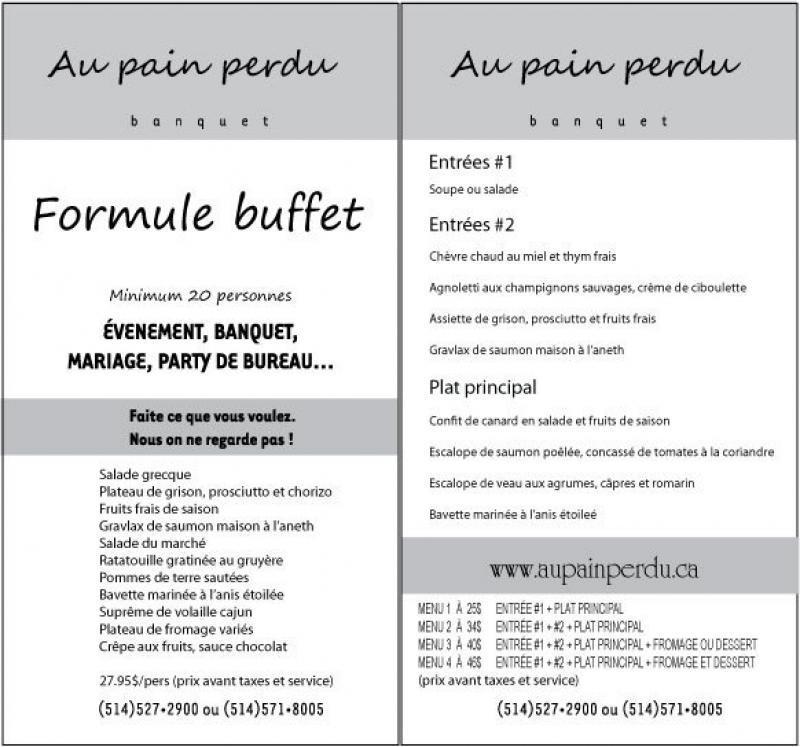 Restaurant Montreal Au Pain Perdu Menu Page 1