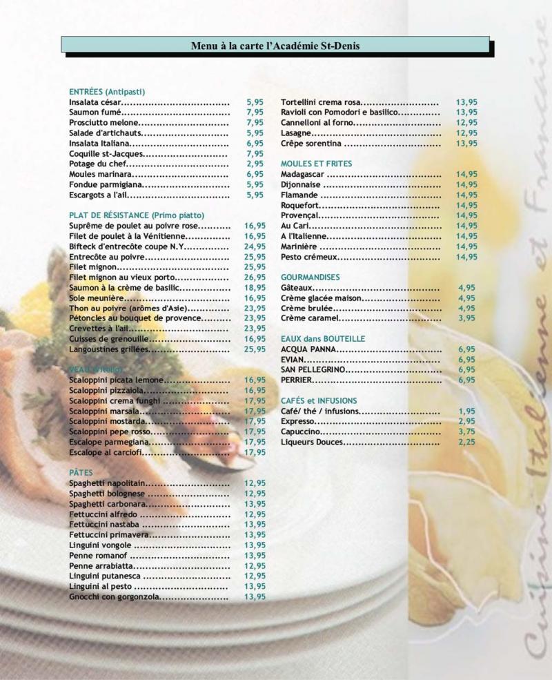 Académie - menu (page 1)