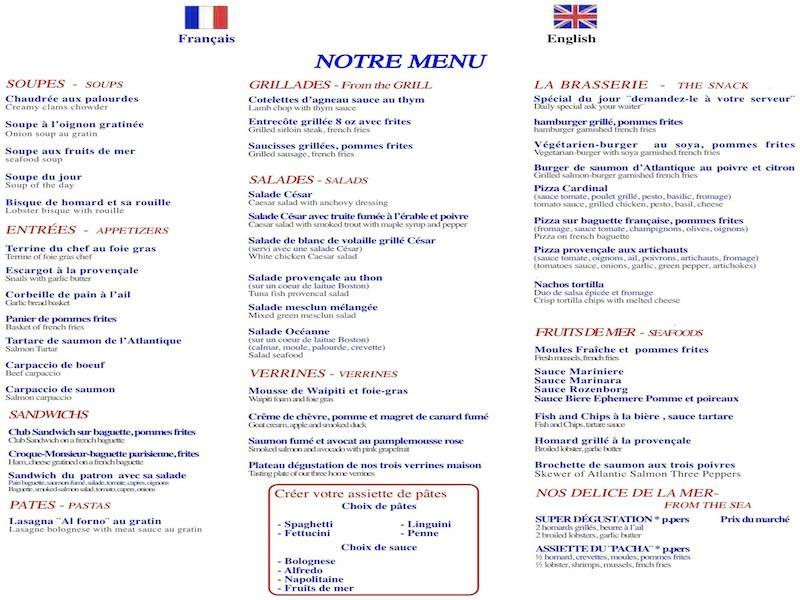 Restaurant montreal restaurant le fripon menu page 1 for Restaurant le jardin neufchatel menus